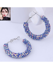 Fashion Blue Sequin Ear Studs