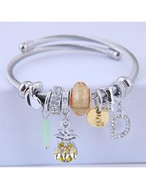Fashion Yellow Metal Pineapple Bracelet