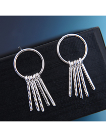 Fashion Silver 925 Silver Needle Copper Tassel Earrings