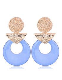 Fashion Blue Metal Ring Earrings