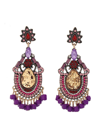 Fashion Color Alloy Hollow Pierced Tassel Earrings