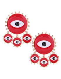 Fashion Red Metal Eye Stud