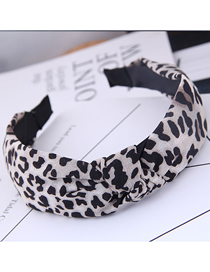 Fashion White Leopard Fabric Knotted Wide Edge Hoop