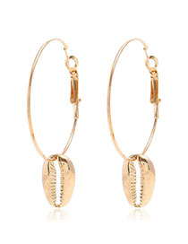 Fashion Golden Conch Embossed Earrings
