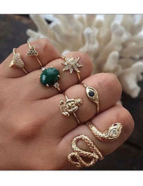 Fashion Golden Diamond Serpent Figure Sun Flower Ring Set
