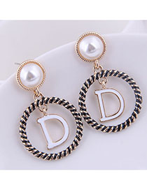 Fashion Golden Round Letter Pearl Studs