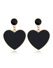 Fashion Black Drop Nectarine Heart Studs