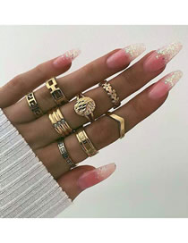 Fashion Golden Flower Studded Geometric Concave Ring Set