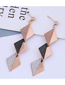 Fashion Rose Gold Sequined Geometric Diamond Stud Earrings