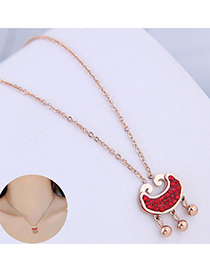 Fashion Red Rich Lock And Diamond Bead Necklace