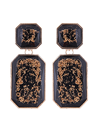 Fashion Black Geometric Square Resin Gold Stud Earrings