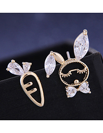 Fashion Golden Asymmetric Stud Earrings With Zircon And Rabbit Radish