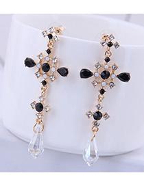 Fashion Black Crystal Geometric Cutout Earrings With Diamonds