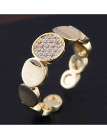 Fashion Golden Metal Open Ring With Diamonds