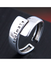 Fashion Silver Embossed Letter Geometric Open Ring