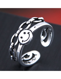 Fashion Silver Openwork Smiley Ring With Chain