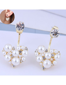 Fashion Golden Irregular Pearl Stud Earrings With Diamonds