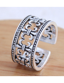 Fashion Silver Wide-edge Openwork Embossed Alloy Split Ring