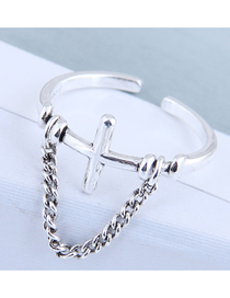 Fashion Silver Cross Chain Stand Split Ring