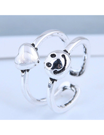 Fashion Silver Smiley Love Openwork Ring