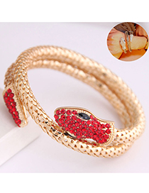Fashion Red Snake Bracelet In Metal With Diamonds