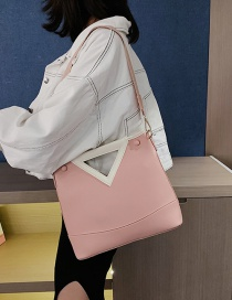 Fashion Pink Contrast Stitching Triangle Mouth Mother Portable Messenger Bag