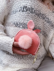 Fashion Pink Wool Ball Velvet Coin Holder