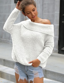 Fashion White Off-the-shoulder Oblique Collar With One Shoulder And Two Sweaters