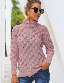 Fashion Pink Feather Hollow Turtleneck Sweater