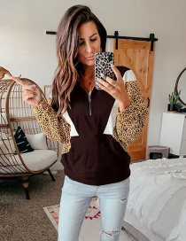 Fashion Red Wine Leopard Print Contrast Stitching Sweater