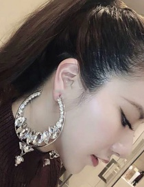 Fashion Silver Large Circle Flash Drill Earrings