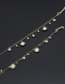 Fashion Gold Chain Pearl Rhinestone Glasses Chain