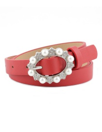 Fashion Red Pearl Pin Buckle Imitation Leather Belt
