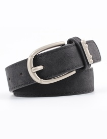 Fashion Black Alloy Accessories Ring Faux Leather Pin Buckle Flat Belt