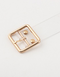 Fashion Small Square Buckle + Gold Pvc Transparent Round Buckle Belt