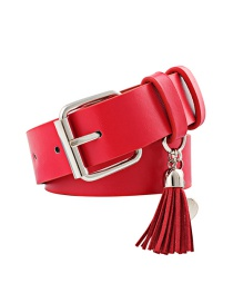 Fashion Red Pu Leather Pin Buckle Wide Belt