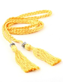 Fashion Yellow Braided Bow Rope Knotted Waist Chain