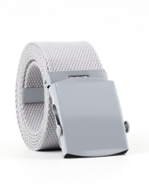 Fashion Light Gray Canvas Woven Smooth Buckle Belt