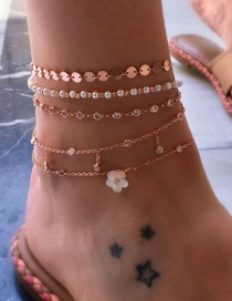 Fashion Gold Alloy Diamond Pearl Flower Flower Anklet 5 Set