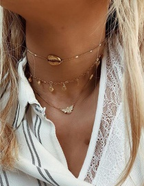Fashion Gold Alloy Scallop Bee Shell Multi-layer Necklace