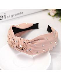 Fashion 藕 Pink Fabric + Color Diamond Knotted Headband Cloth And Diamond Knotted Headband