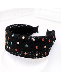Fashion Black Lace Color Diamond Headband Lace Gauze Fabric With Diamond Wide-brimmed Headband