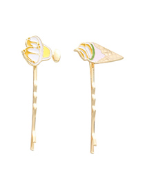 Fashion Gold Alloy Drop Oil Ice Cream Cake Hair Clip Set