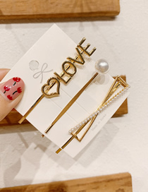 Fashion Love Letter Pearl Metal Hairpin Combination