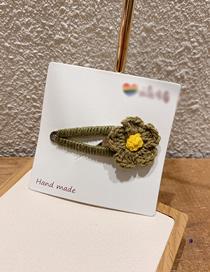Fashion Olive Green Flowers Wool Flower Hair Clip