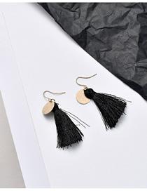 Fashion Gold + Black Fringed Flower Geometric Earrings