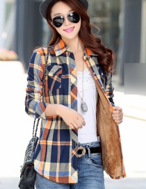 Fashion Yellow Blue Plus Velvet Padded Plaid Shirt