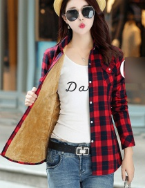Fashion Jacquard Plus Velvet Padded Plaid Shirt