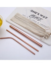Fashion Rose Gold Tube Size Brush Linen Bag Set Of 6 304 Stainless Steel Straw Set (20 Pieces)