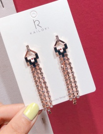 Fashion Long Rose Gold 925 Silver Needle Alloy Stud Earrings